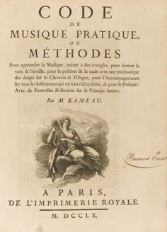 """First Edition of """"Code de Musique Pratique"""" by Jean Philippe Rameau (1760)"""