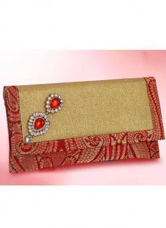 Magnificient Red Brocade Clutch Bag