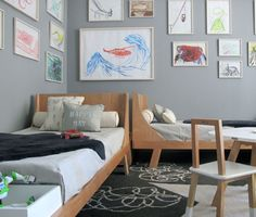 shared kids' room - great beds, great art
