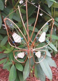 Copper wire butterfly garden plant stake suncatcher, sea glass, garden decoration art Swarovski crystals - upcycled - great garden gift. $22.00, via Etsy.
