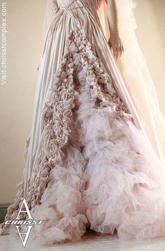 the most beautiful rainfall of fabric i've ever seen as a steam punk wedding dress in Chrisst's etsy shop