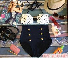 Kylie - Retro Vintage Pin Up Handmade Black White Polka Dot High Waist Bikini Swimsuit Swimwear