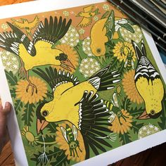 Goldfinch original color reduction hand carved woodcut by jpopstudios on Etsy