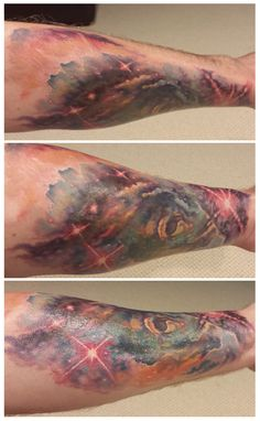 This gorgeous galaxy piece is covering up a dated, tacky tribal tattoo