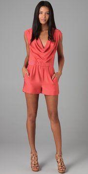 Diane Von Furstenberg Neon Coral Bellancia Romper/Jumpsuit $128