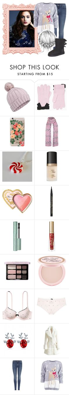 """""""""""Cecily shivered as she walked through the snowy New York streets"""" //Private RP OC Visual//"""" by titanium-druzy ❤ liked on Polyvore featuring Miss Selfridge, Kate Spade, Rifle Paper Co, Topshop, Too Faced Cosmetics, Body by Victoria, WithChic, 7 For All Mankind, Boohoo and UGG"""