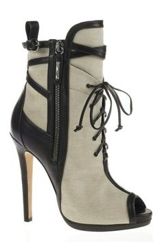 Cream and black lace up bootie