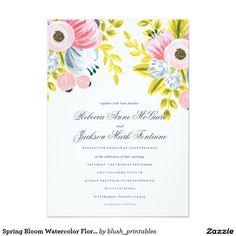 Spring Bloom Watercolor Floral Wedding Invitation