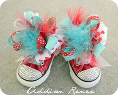 Blinged Out Converse Sneakers | ... All Star Red white and aqua Hi-Tops Chuck Taylor style Sneakers Shoes
