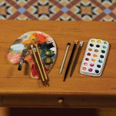 Dolls House Miniature Artists Palette, Brushes and Paints, 5 pcs - Over 10,000 other miniature dollshouse items in stock! Visit www.thedollshousestore.co.uk