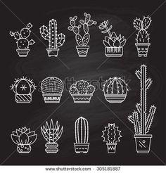 Summer Line Art Stockfotos und -bilder - Kaktus Cactus Drawing, Cactus Art, Cactus Decor, Cactus Plants, Garden Cactus, Cactus Flower, Kaktus Tattoo, Art Deco Tattoo, Succulent Tattoo