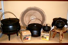 Various cast iron potjie pots! Individual potjies could be used for a dinner party to serve stew! Nespresso, Kettle, Stew, Cast Iron, Pots, Coffee Maker, African, Dinner, Ideas