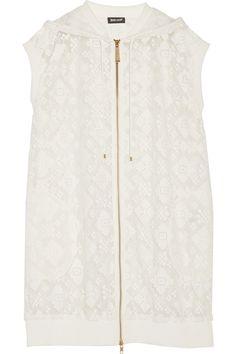 JUST CAVALLI Embroidered Lace Hooded Vest. #justcavalli #cloth #vest