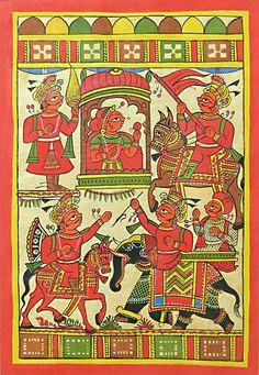 Rajasthani Phad Painting (Phad Painting on Cloth - Unframed)) Phad Painting, Worli Painting, Rajasthani Painting, Rajasthani Art, Ancient Indian Art, Indian Folk Art, Madhubani Art, Indian Art Paintings, Madhubani Painting