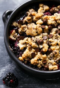 Blackberry chocolate chip cookie crumble? Wow. I think we've found our next favorite dessert!