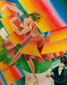Dancer (1915). Gino Severini (Italian, Cubism/Futurism, 1883-1966). Oil on canvas. One of the leading artists of the Italian Futurist movement, Severini created works that embody the group's interest in movement and modern technology. In this painting, the gradation of color and the unusual multi-colored planes reinforce the whirling motion of the dancer.