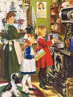 Norman Rockwell.  It reminds me of us three Davis girls.
