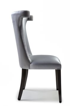 Botanica - This silver satin upholstered chair boasts a beautifully hand embroidered silver leaf detail shown in metallic vinyl and lamb's wool.
