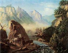 Схватка в горах Дагестана. Отражает события из жизни Лермонтова в 1840 участвовавшего в военных действиях в Дагестане.