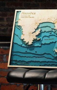 Laser cut depth map. Layered plywood bathymetric map. Wooden map, sea map.