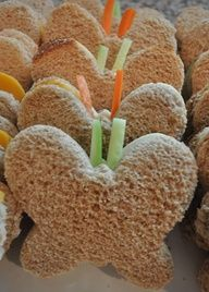 Butterfly shaped sandwiches. Yum!