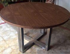 Mesa redonda estilo industrial madera hierro - 115545519 - Muebles, Deco y Jardín