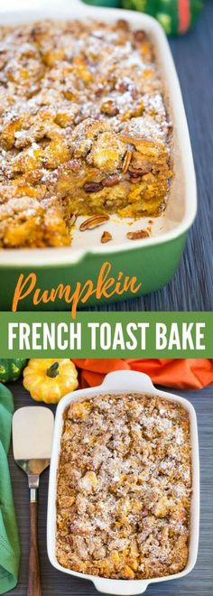Scrumptious PUMPKIN FRENCH TOAST BAKE is the perfect brunch recipe for autumn. It's topped with a fabulous pecan streusel. This French toast casserole is so flavorful and easy to make! A great fall recipe for breakfast, brunch, and special occasions. Pumpkin Recipes, Fall Recipes, New Recipes, Cooking Recipes, Thanksgiving Recipes, Recipies, Pumpkin French Toast, French Toast Bake, Brunch Recipes