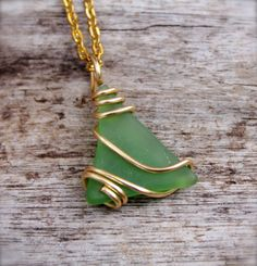 Sea Glass Necklace Green Seaglass Jewelry by MermaidTearsDesigns