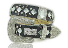 BHW Womens Western Genuine Leather Belt Size MEDIUM Black Rhinestone Crystal NEW