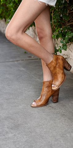 Show a little toe with tan BEDSTU leather peep toed booties. Peep Toe Heels, Wedge Heels, Leather Booties, Leather Heels, Comfortable Heels, 4 Inch Heels, Vegetable Tanned Leather, Wardrobes, Cute Outfits