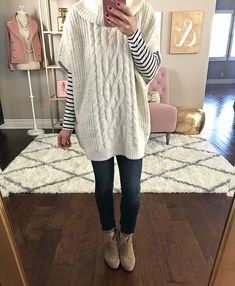 CASSIDY CABLE-KNIT SWEATER, cable knit poncho, petite fashion blog, casual outfit, winter outfits, fall outfits, petite skinny jeans, franell ankle booties, gold mirror, home decor - click the photo for outfit details!