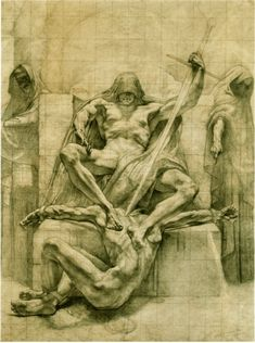 """ratatoskryggdrasil: """" setoshi-zombie: """" Jean Delville """" preparatory drawings for decorative panels meant for the Palace of Justice in Brussels. Anatomy Sketches, Anatomy Art, Arte Obscura, Occult Art, Classical Art, Gay Art, Dark Fantasy Art, Renaissance Art, Art Reference Poses"""