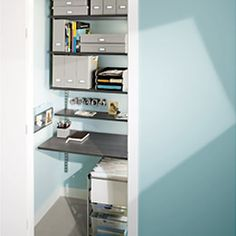 """Elfa office in a closet, would do high """"desk"""" area so a stool would fit under it."""