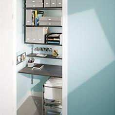 Driftwood & Platinum elfa Office in a Closet