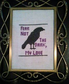 Gothic Framed Fear Not The Dark Crow Raven Cross by CraftiqueRedux, $14.00