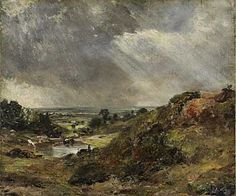 a painting of a pond next to a small hillside with clouds skeeting above - John Constable