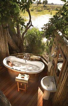 Luxurious outdoor bathroom at the Orient Express Safari Camp [ Sliding-doors-hardware.com ] #bathroom #hardware #slidingdoor
