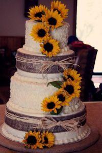 Rustic burlap and sunflowers wedding cake