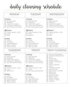 Free 2-page cleaning printable. First page is a daily cleaning schedule, second page is a declutter + detox cleaning checklist!: