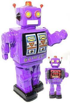 tin toys wind up metal nostalgic body twisting robot toy purpleGames Vintage Robots, Retro Robot, Vintage Toys, Arte Robot, Space Toys, Retro Christmas, Christmas Gifts, Classroom Displays, Tin Toys