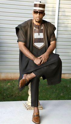 Yinka African agbada set, matching shirt and pant/African clothing / African men clothing / wedding suit/groom suit/dashiki African Dresses Men, African Attire For Men, African Clothing For Men, African Shirts, African Wear, Nigerian Men Fashion, African Men Fashion, Mega Fashion, Fashion Hats