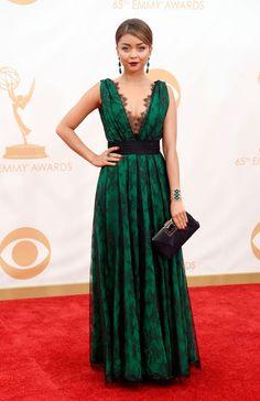 Sarah Hyland in a black lace and emerald CH by Carolina Herrera dress - Emmy Awards 2013