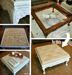Coffee Table Tufted Ottoman Upcycle