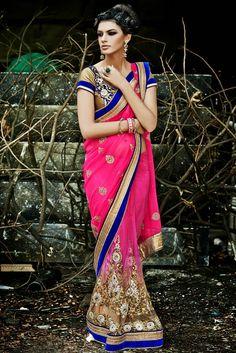 Glamorous Rani Pink and Beige #Designer #Saree