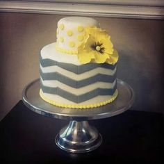 Yellow gray chevron cake