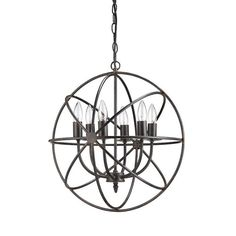 Part demonstration of symmetry and part industrial chic, narrow bands of metal orbit around six gorgeous bulbs on this remarkable-looking chandelier. Hang one in  the reading nook or double it up for s...  Find the Orbit Suspension Chandelier, as seen in the Shabby Chic Collection at http://dotandbo.com/collections/shabby-chic?utm_source=pinterest&utm_medium=organic&db_sku=CCO0477