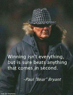 Coach Bryant on Winning. #SEC www.RollTideWarEagle.com Sports stories that inform and entertain plus FREE football rules tutorial, check it out.