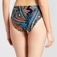 Clean water Women's Paisley Tab Side Hipster Bikini Swim Bottoms - Blue Paisley XL