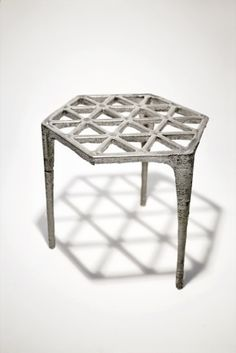 Max Lamb, Hexagonal pewter stool, made from sand-casting  2008