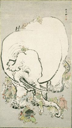Artist: Ohara Donshu\ Title: Blind Men Appraising an Elephant Date:between 1800 and 1850 Medium: ink and colors on paper